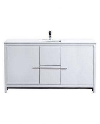 KUBEBATH DOLCE 60″ HIGH GLOSS WHITE MODERN BATHROOM VANITY WITH WHITE QUARTZ COUNTER-TOP