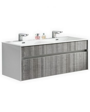 FITTO 48″ DOUBLE SINK ASH GRAY WALL MOUNT MODERN BATHROOM VANITY