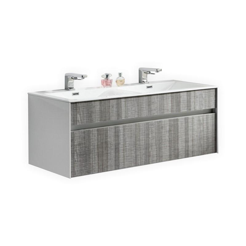 Tona Fitto 48 Double Sink Ash Gray Wall Mount Bathroom Vanity