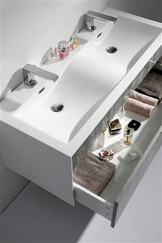 modern bathroom vanity double sink. Home  VANITIES 43 To 54 FITTO 48 DOUBLE SINK ASH GRAY WALL MOUNT MODERN BATHROOM VANITY Tona Fitto Double Sink Ash Gray Wall Mount Bathroom Vanity
