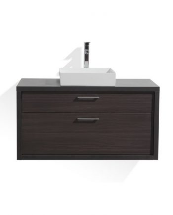 TUCCI 42″ DARK GRAY OAK WOOD WALL MOUNT MODERN BATHROOM VANITY