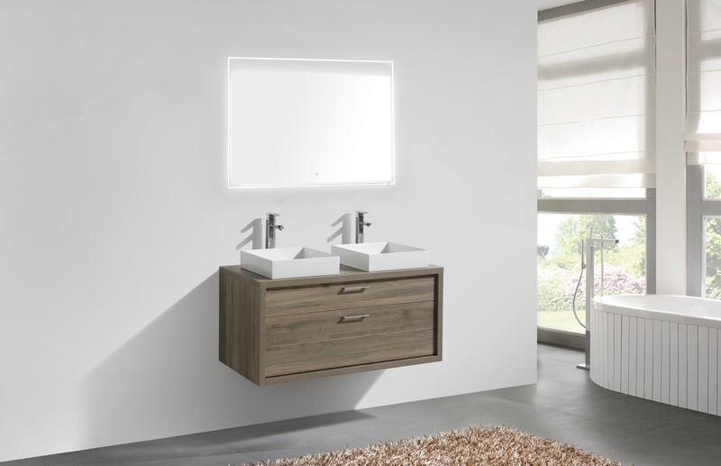Tucci 48 Havana Oak Wall Mount Double Sink Bathroom Vanity