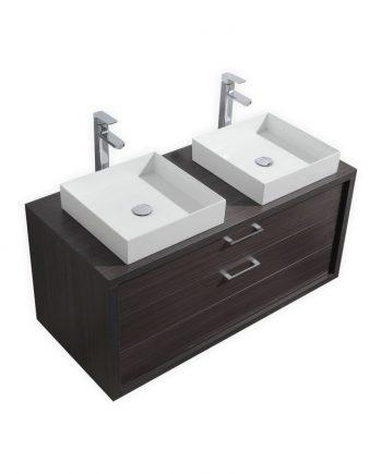 TUCCI 48″ DARK GRAY OAK WALL MOUNT DOUBLE SINK MODERN BATHROOM VANITY W/ VESSEL SINK