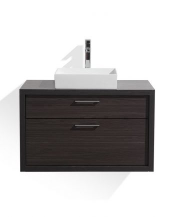 TUCCI 30″ DARK GRAY OAK WOOD WALL MOUNT MODERN BATHROOM VANITY