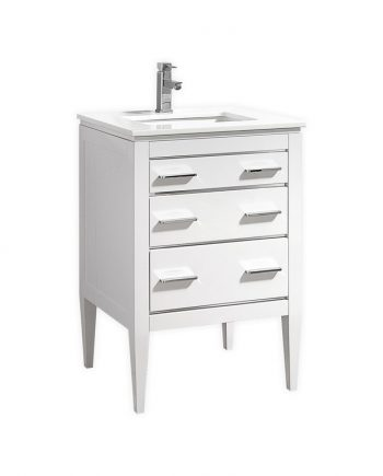 "EIFFEL 24"" HIGH GLOSS WHITE VANITY W/ QUARTZ COUNTER TOP"