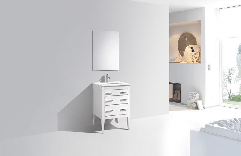 Eiffel 24 High Gloss White Vanity W Quartz Counter Top