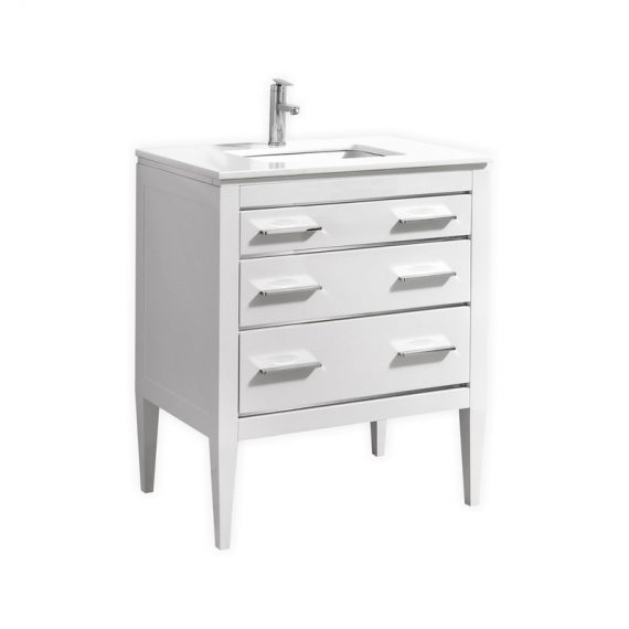 "EIFFEL 30"" HIGH GLOSS WHITE VANITY W/ QUARTZ COUNTER TOP"