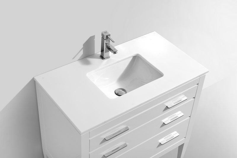 Eiffel 36'' High Gloss White Vanity W/ Quartz Counter Top