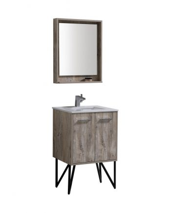 "Bosco 24"" Modern Bathroom Vanity w/ Quartz Countertop and Matching Mirror"