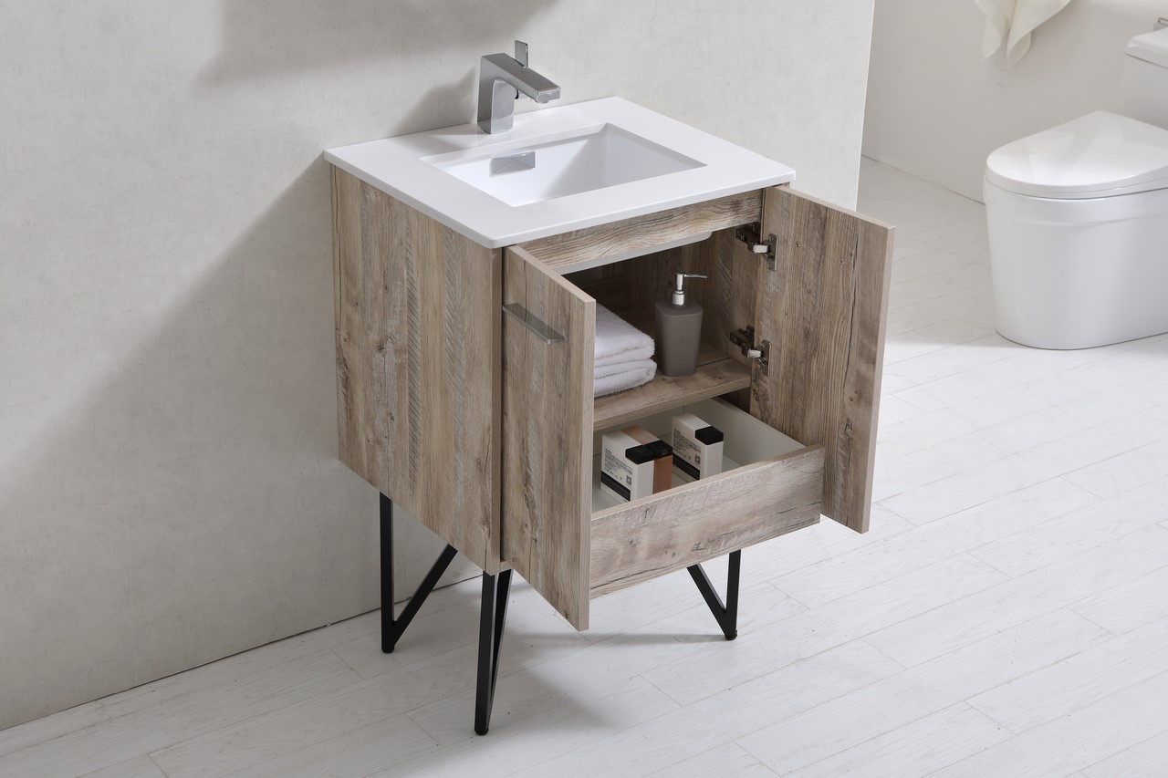 Forest 24 Quot Modern Bathroom Vanity W Quartz Countertop And