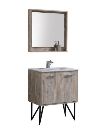 "Bosco 30"" Modern Bathroom Vanity w/ Quartz Countertop and Matching Mirror"