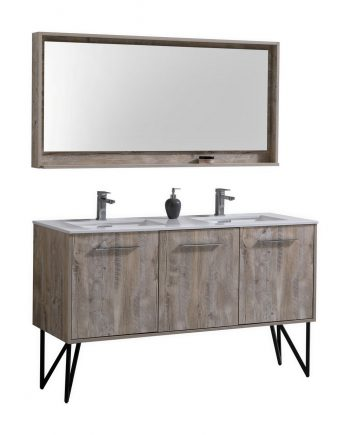 "Bosco 60"" Modern Bathroom Vanity w/ Quartz Countertop and Matching Mirror"