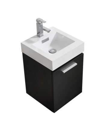 "Bliss 16"" Black Wall Mount Modern Bathroom Vanity"