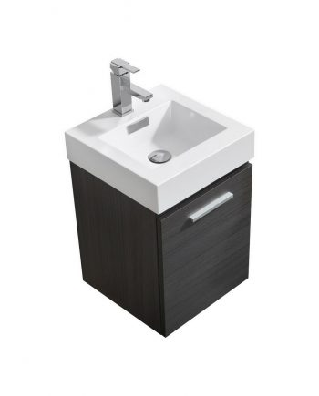 "Bliss 16"" Gray Oak Wall Mount Modern Bathroom Vanity"