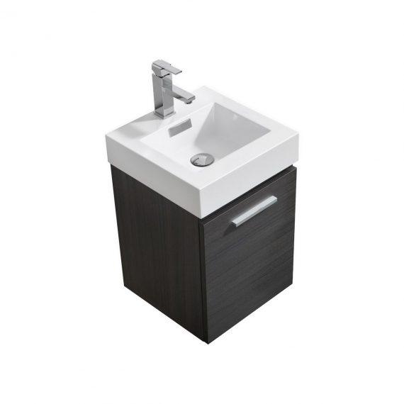 """Bliss 16"""" Gray Oak Wall Mount Modern Bathroom Vanity"""