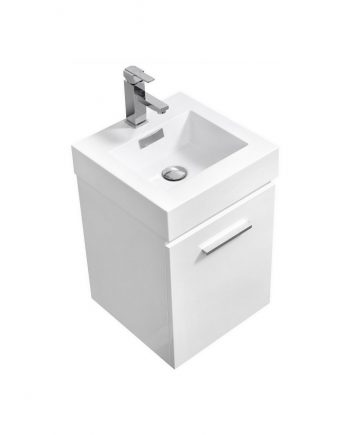"Bliss 16"" High Gloss White Wall Mount Modern Bathroom Vanity"