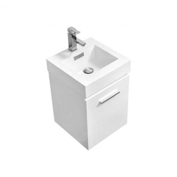 "Bliss 16"" High Gloss White Wall Mount Modern Bathroom Vanity"