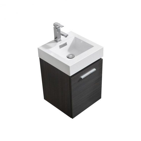 "Bliss 16"" High Gloss Gray Oak Wall Mount Modern Bathroom Vanity"