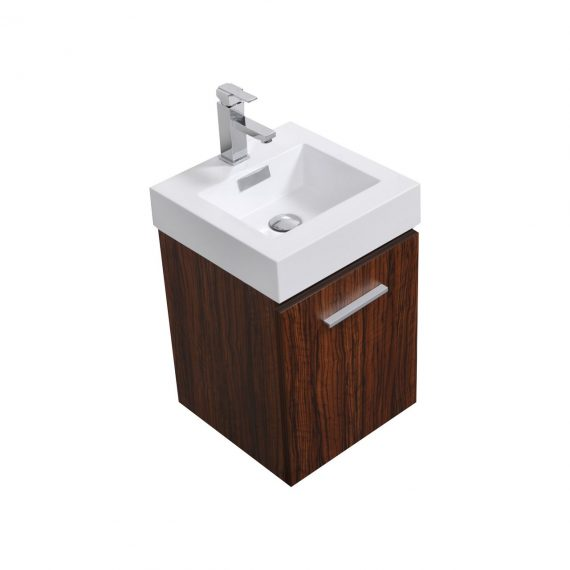 "Bliss 16"" Walnut Wall Mount Modern Bathroom Vanity"