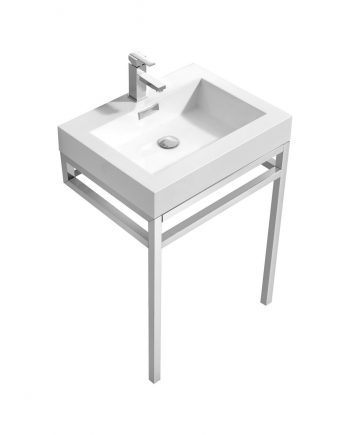 "Haus 24"" Stainless Steel Console w/ White Acrylic Sink - Chrome"