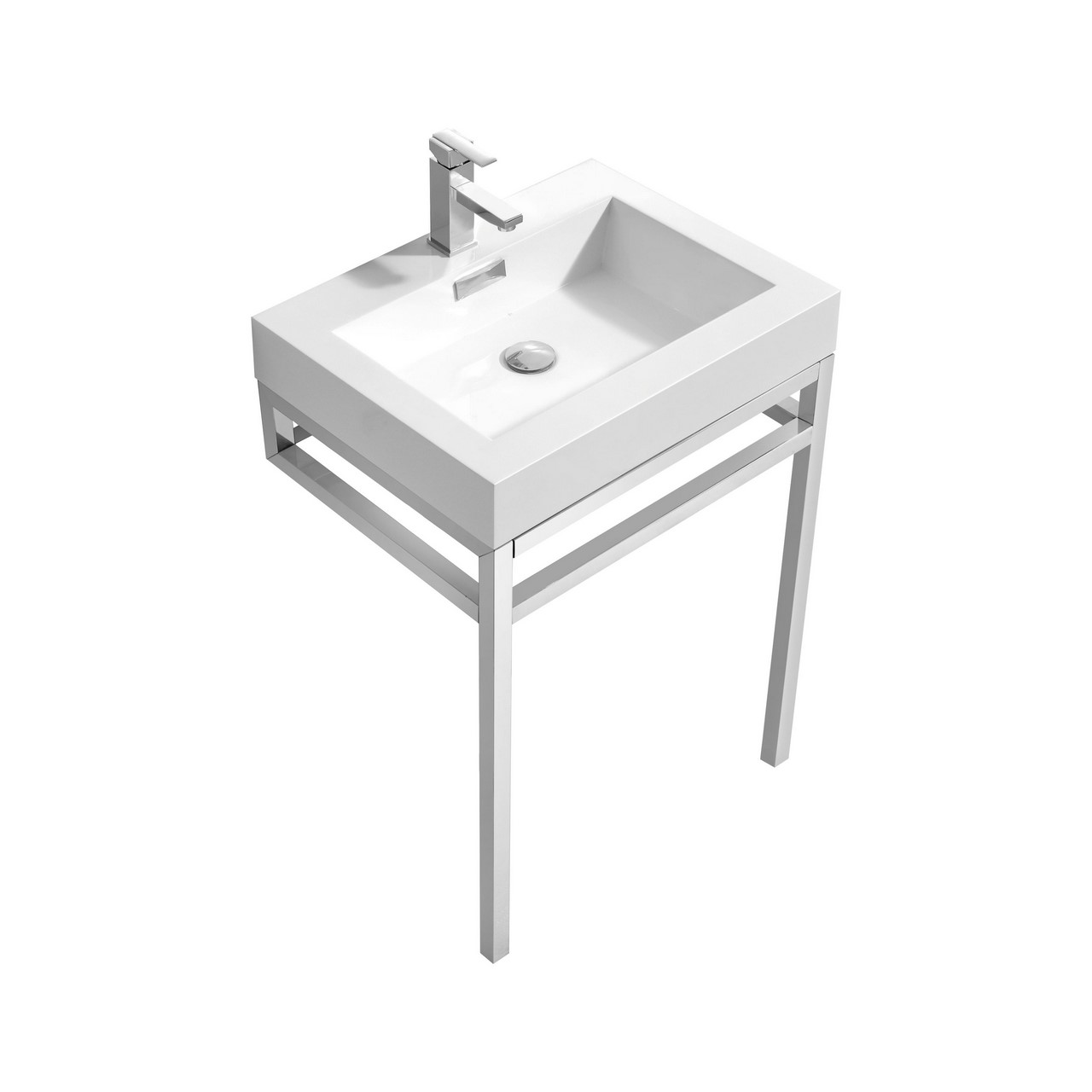 Haus 24 Quot Stainless Steel Console W White Acrylic Sink