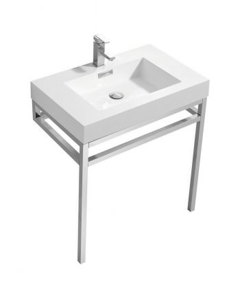 "Haus 30"" Stainless Steel Console w/ White Acrylic Sink - Chrome"