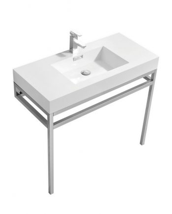 "Haus 36"" Stainless Steel Console w/ White Acrylic Sink - Chrome"