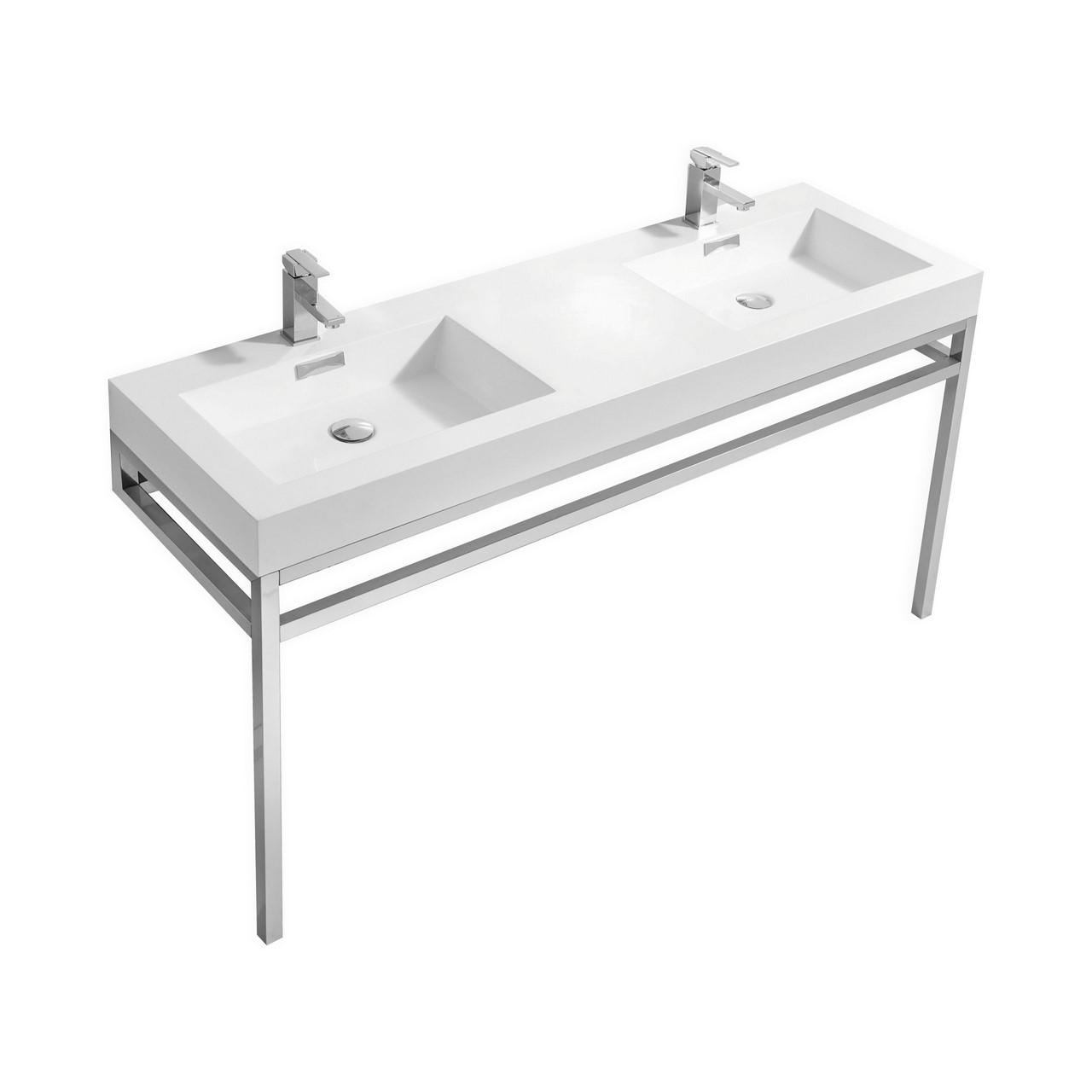 Haus 60 Quot Double Sink Stainless Steel Console W White