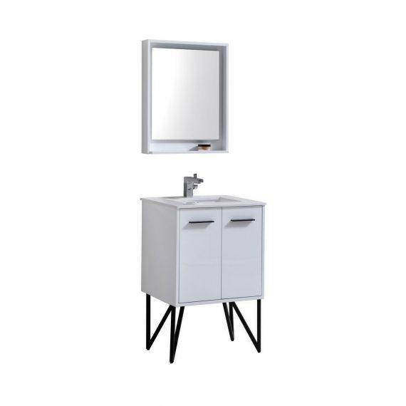 "Bosco 24"" High Gloss White Modern Bathroom Vanity w/ Quartz Countertop and Matching Mirror"