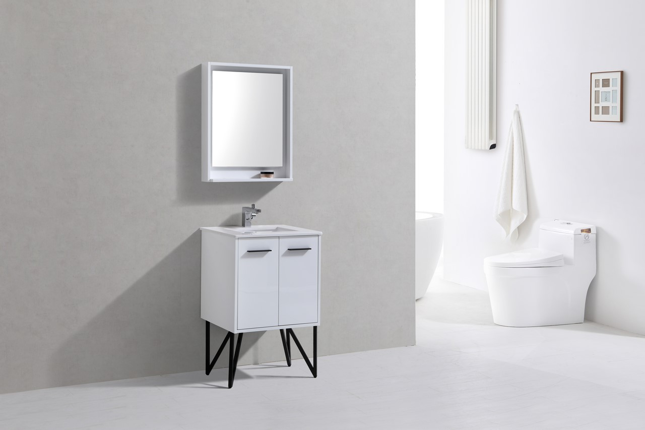 Forest 24 Quot High Gloss White Vanity W Quartz Countertop