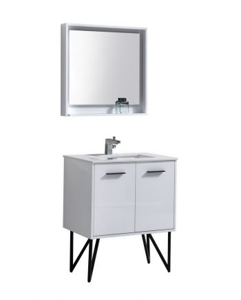 "Bosco 30"" High Gloss White Modern Bathroom Vanity w/ Quartz Countertop and Matching Mirror"