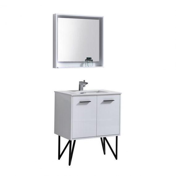 "Bosco 30"" High Gloss White Modern Bathroom Vanity w/ Quartz Countertop and Matching Mirror"