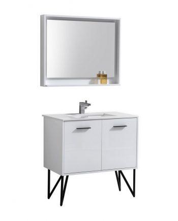 "Bosco 36"" High Gloss White Modern Bathroom Vanity w/ Quartz Countertop and Matching Mirror"