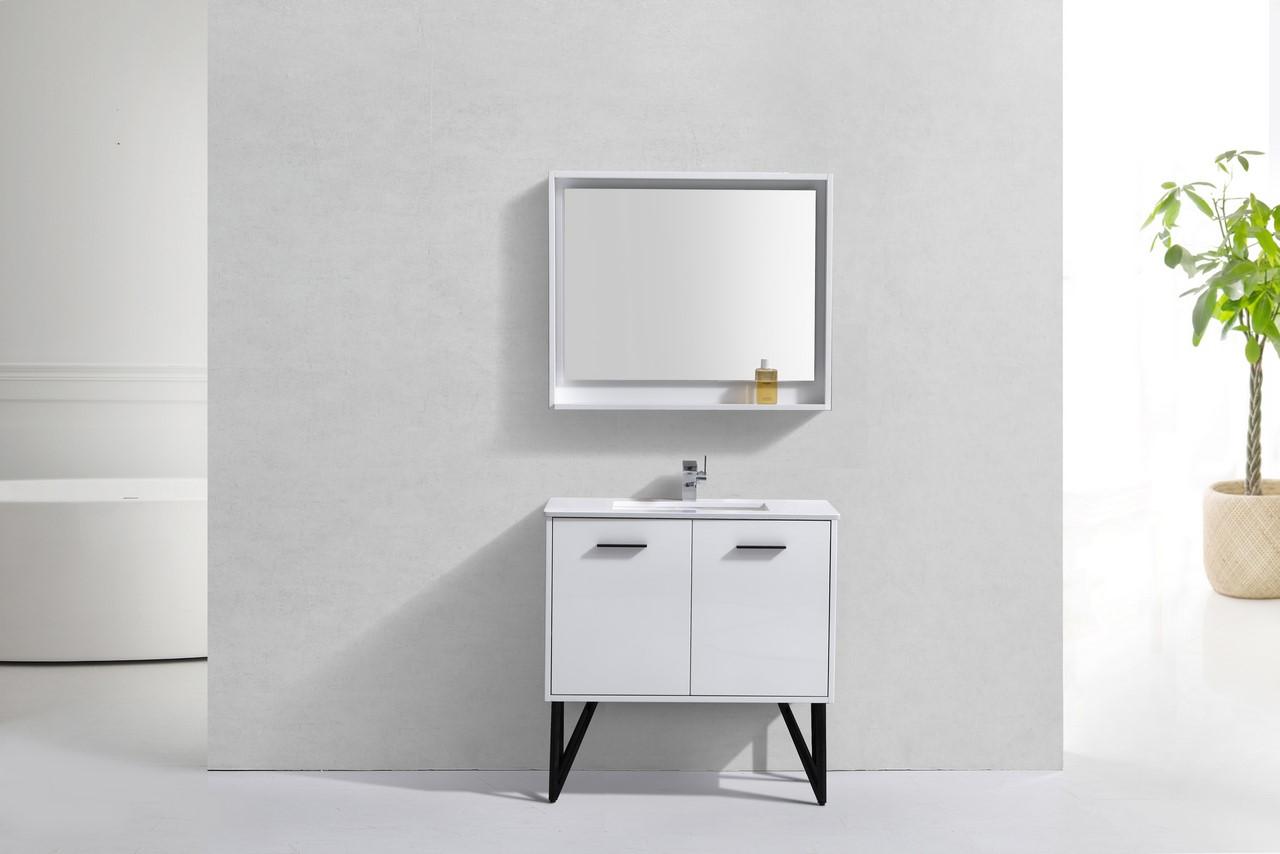 Forest 36 Quot High Gloss White Vanity W Quartz Countertop