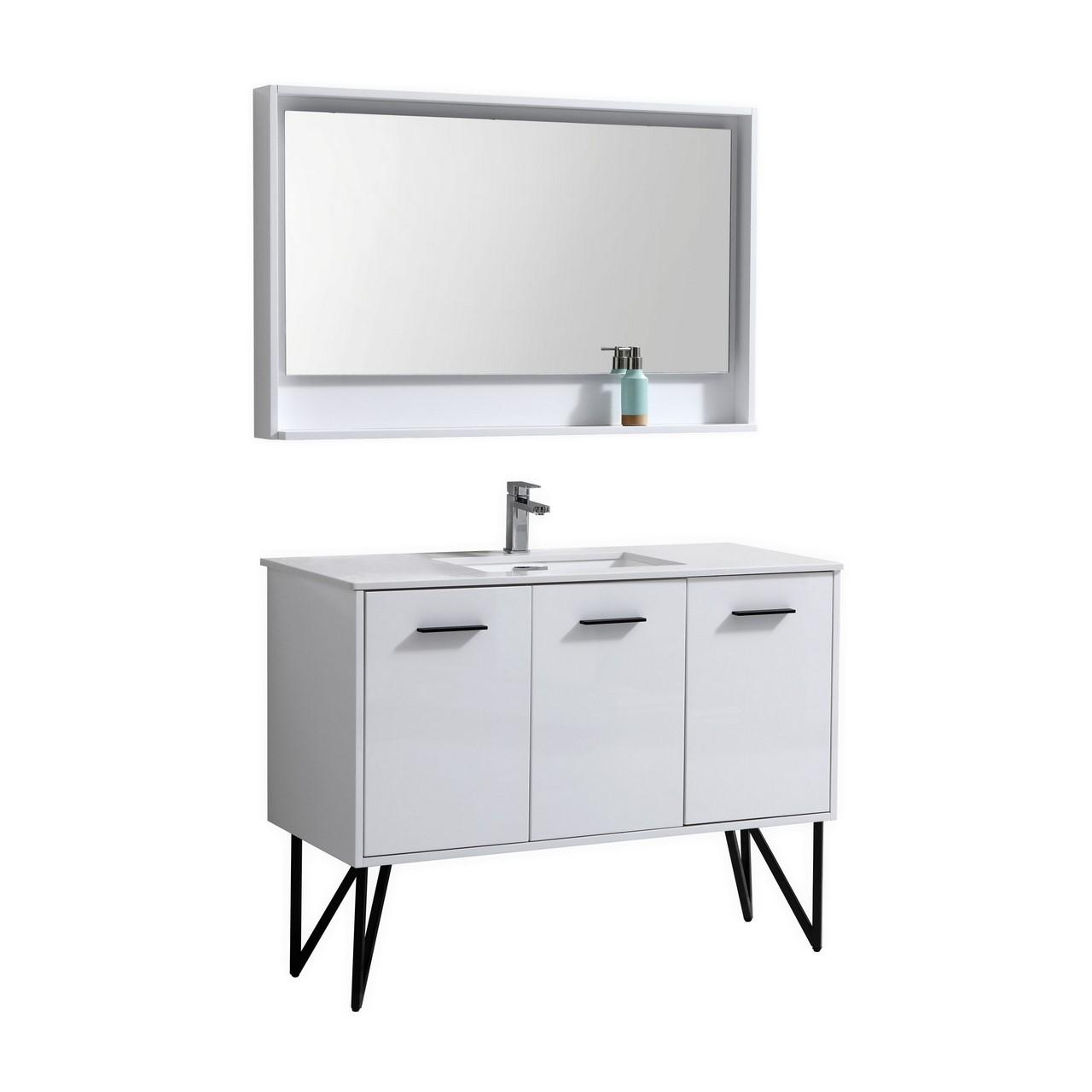 Forest 48 Quot High Gloss White Vanity W Quartz Countertop