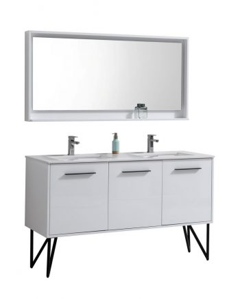 "Bosco 60"" High Gloss White Modern Bathroom Vanity w/ Quartz Countertop and Matching Mirror"