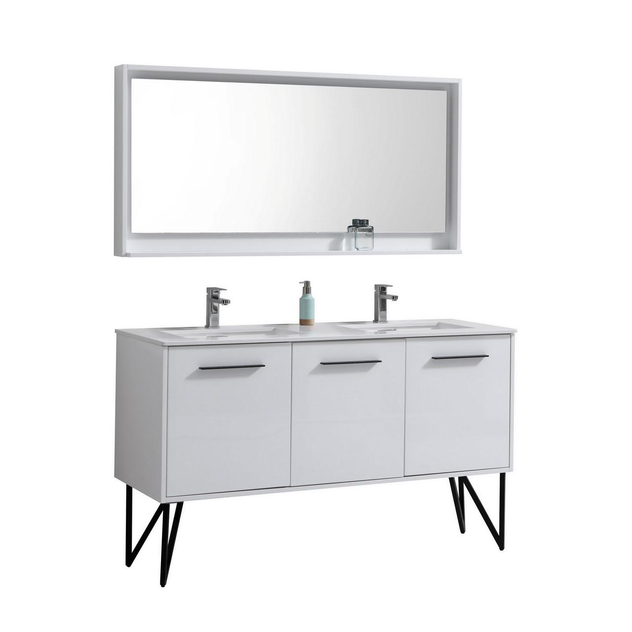 Forest 60 High Gloss White Vanity W Quartz Countertop