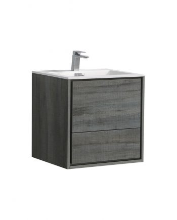"De Lusso 24"" Ocean Gray Wall Mount Modern Bathroom Vanity"