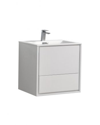 "De Lusso 24"" High Glossy White Wall Mount Modern Bathroom Vanity"
