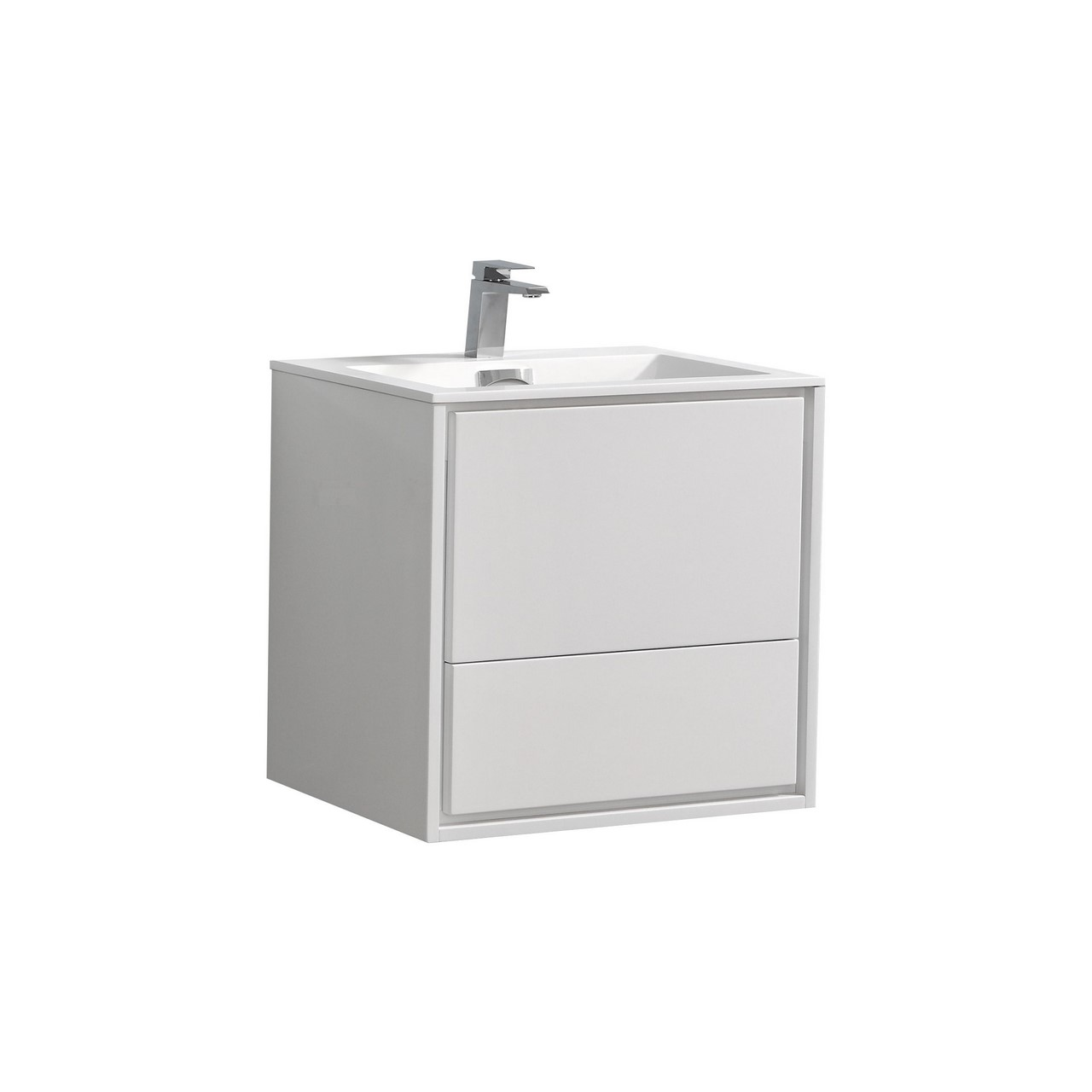 De Lusso 24 Quot High Glossy White Wall Mount Modern Bathroom