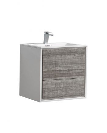 "De Lusso 24"" Ash Gray Wall Mount Modern Bathroom Vanity"