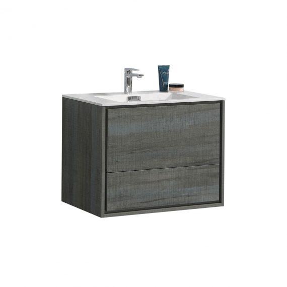 "De Lusso 30"" Ocean Gray Wall Mount Modern Bathroom Vanity"
