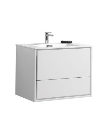 "De Lusso 30"" High Glossy White Wall Mount Modern Bathroom Vanity"