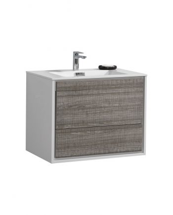 "De Lusso 30"" Ash Gray Wall Mount Modern Bathroom Vanity"
