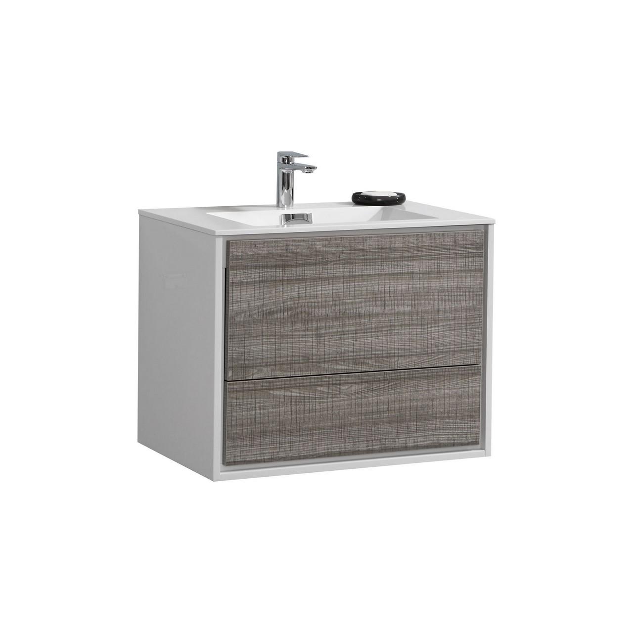 De Lusso 30 Quot Ash Gray Wall Mount Modern Bathroom Vanity