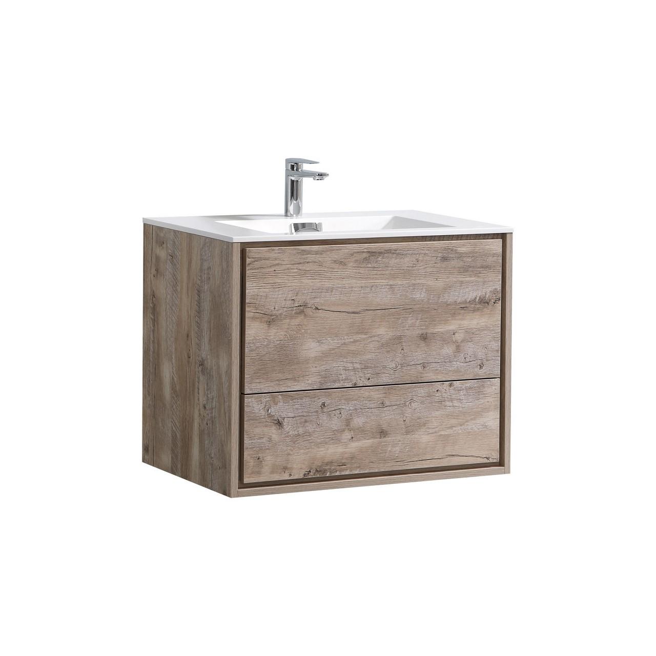 "de lusso 30"" nature wood wall mount modern bathroom vanity"