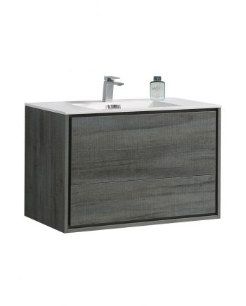 "De Lusso 36"" Ocean Gray Wall Mount Modern Bathroom Vanity"