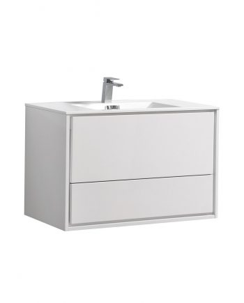 "De Lusso 36"" High Glossy White Wall Mount Modern Bathroom Vanity"