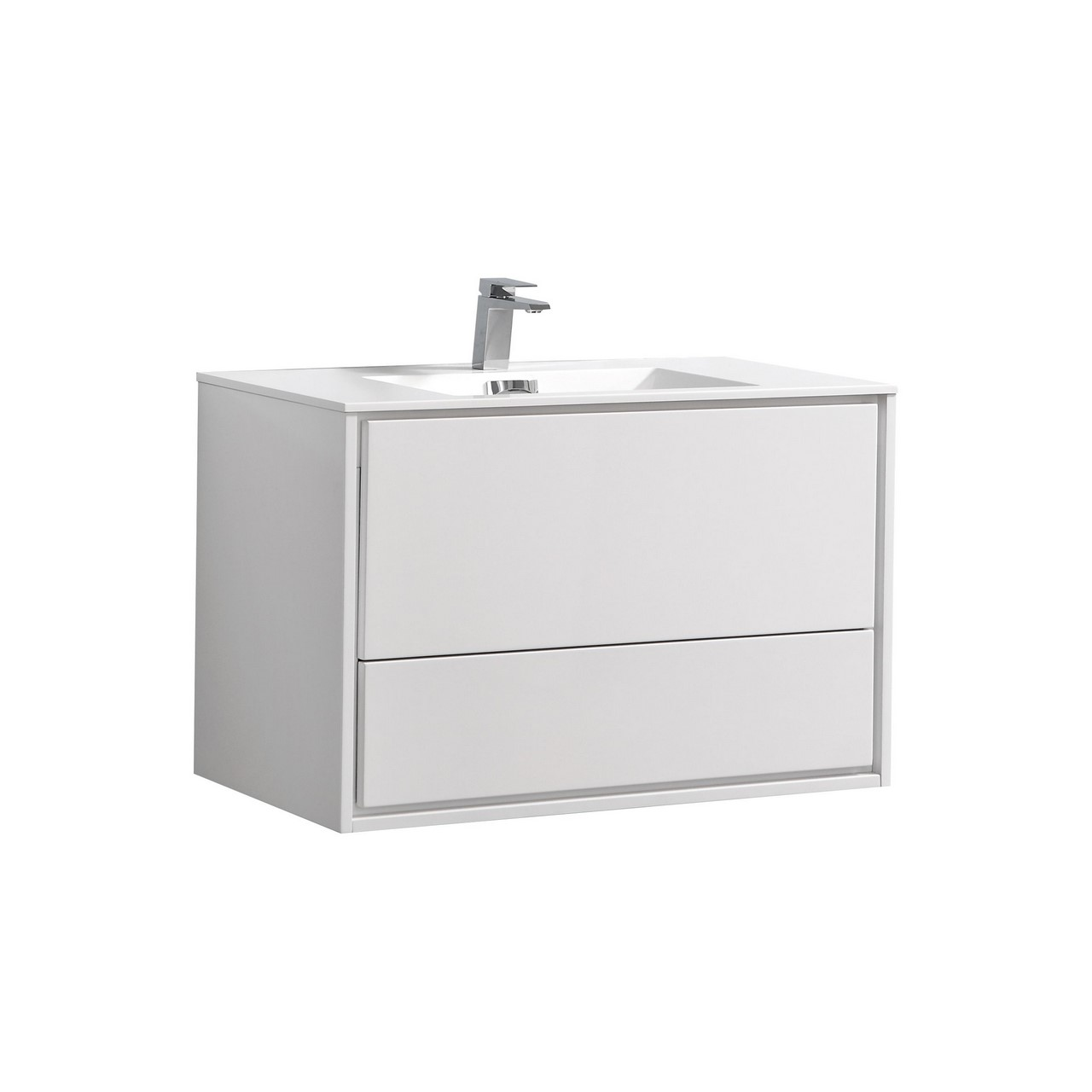 De Lusso 36 Quot High Glossy White Wall Mount Modern Bathroom