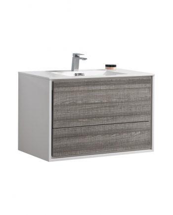 "De Lusso 36"" Ash Gray Wall Mount Modern Bathroom Vanity"